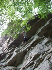 The author being bad-ass while rock climbing