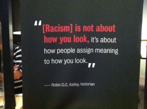 Smithsonian Museum of Natural History Race Exhibit Banner - Racism is not about how you look. It's about how people assign meaning to how you look.