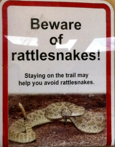 Sign: Beware of rattlesnakes. Staying on the trail may help you avoid rattlesnakes.