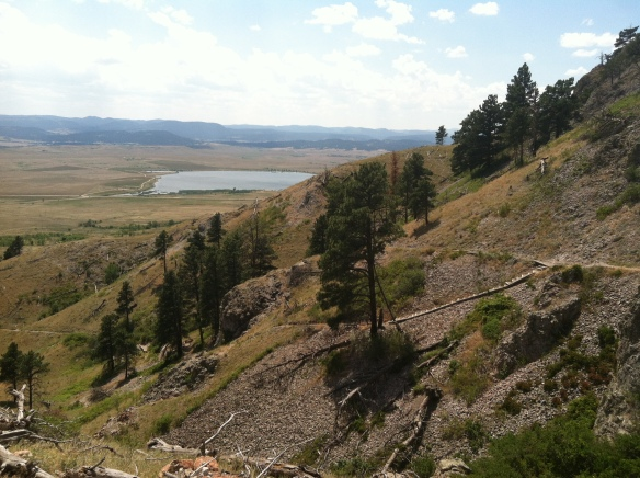 A view of Bear Butte, its erosion and trail work
