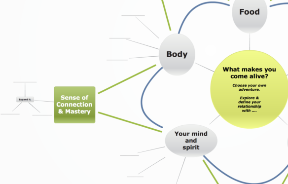 "Mind-map focusing in on the mind-body connection of the ""what makes you come alive"" framework"